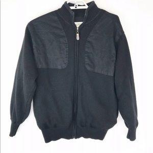 Mens Orvis Wool Knit Black Jacket Large